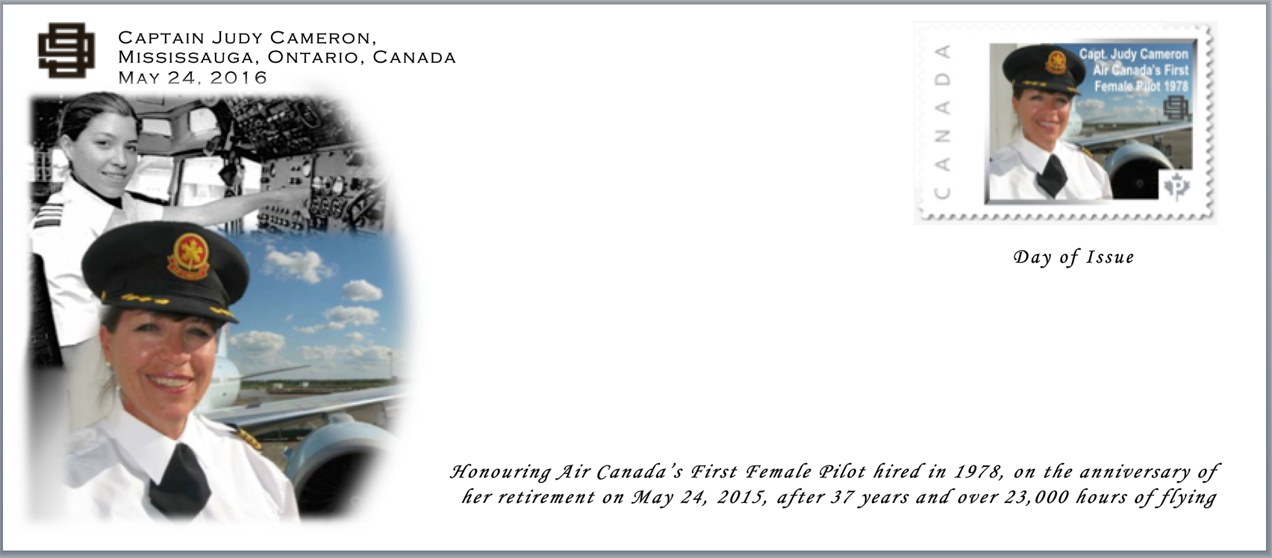 Canadian Women Aviators honoured with a custom designed postal stamp.