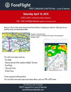 All 99s are invited to the First Canadian Chapter's seminar on ForeFlight
