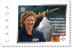 Emily Crombez was recognized Friday afternoon with a commemorative stamp from the East Canada Section of the Ninety-Nines, an international women's aviation organization.