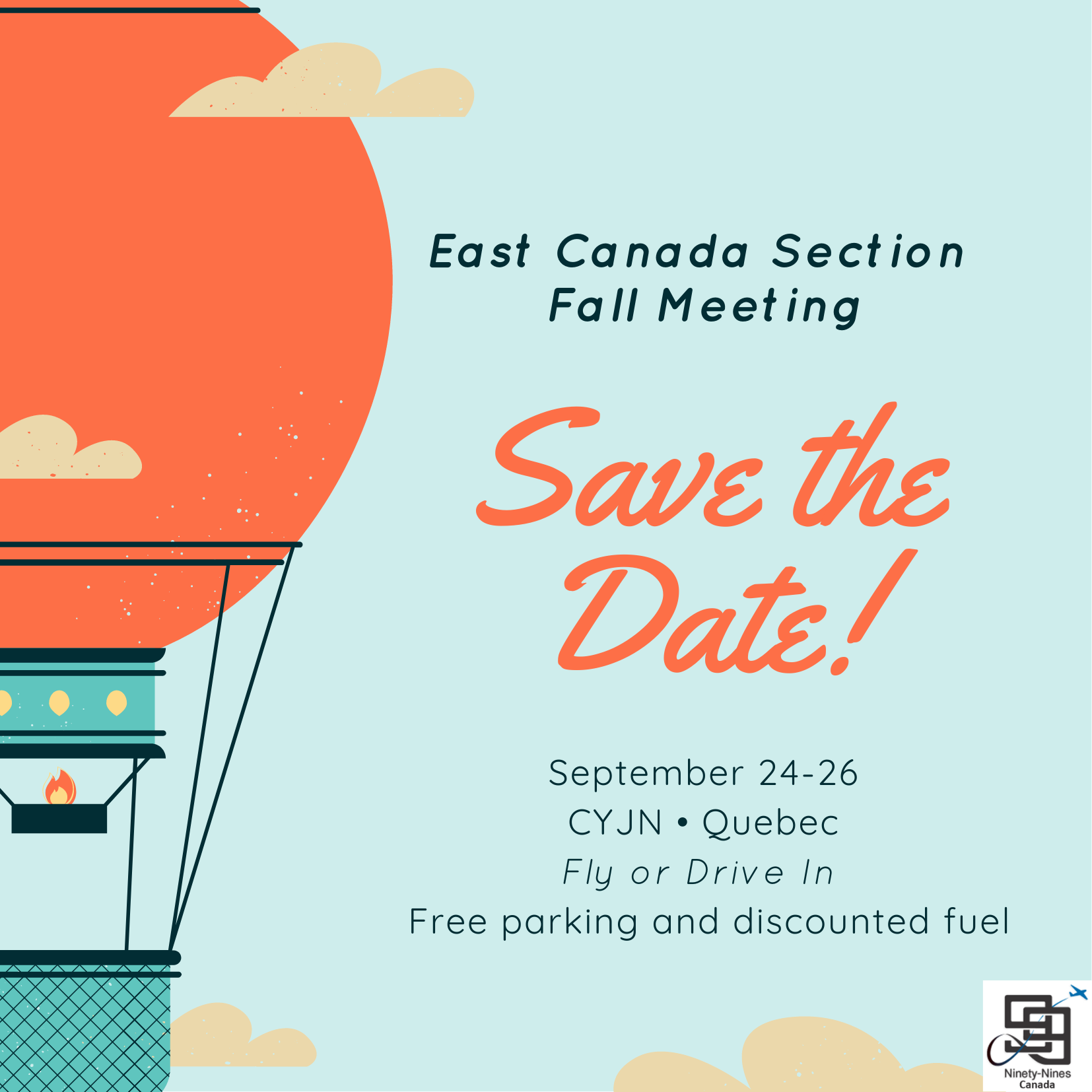 You are currently viewing Save The Date!!! 99s East Canada Section Fall Meeting
